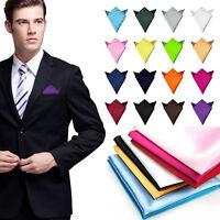 Men Hanky Silk Satin Pocket Solid Color Square Hankerchief Party Wedding Bridal