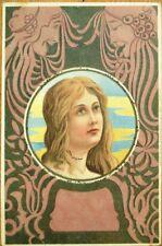 Art Nouveau 1900 Postcard: Woman & Mask Designs - Color Litho