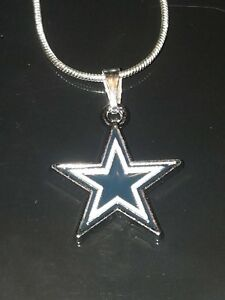 Dallas Cowboys Logo Necklace Pendant NFL Football Sterling Silver Chain