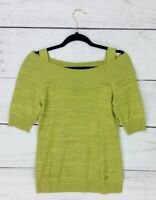 Escada Lime Apple Green Knit Top Striped Short Sleeve Top Size 36 Womens Blouse
