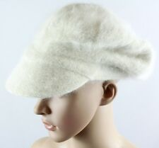 Ivory White Women's Knit Cabbie Hat Flat Cap Angora Rabbit Hair Wool Newsboy