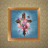 FT- Religious Embroidery 5D Diamond Painting DIY Flower Cross Stitch Home Wall D