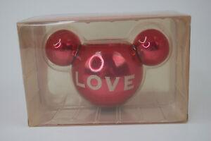 Vintage Disney Retired Glass Tea Light Holder Mickey Ears - LOVE - Red NEW