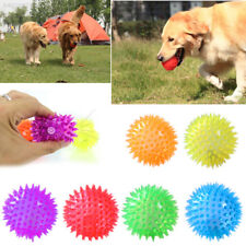 92C8 2221 Dog Puppy Cat Pet Led Light Squeaker Rubber Chew Bell Ball Playing Toy