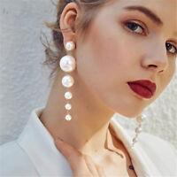 Tassel Big Simulated Pearl Long Earrings Pearls String Statement Dangle Earrings