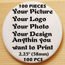 "100pcs Custom Print Personalised Pinback Pin Button Badge pinback 2.25"" 58mm"