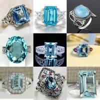 Elegant Women 925 Silver Aquamarine Wedding Engagement Ring Jewelry #6-10