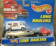 1997 Hot Wheels Long Haulers Fire Department Ambulance and Semi Truck combo