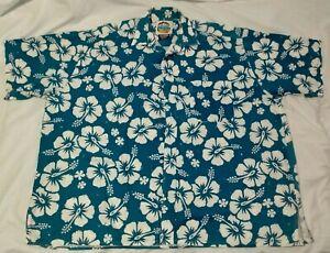 Okanui Classics Mens S/S Hawaiian Shirt Size XL Blue Hibiscus Print *VGC