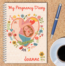 PERSONALISED PREGNANCY DIARY, A5 WIRE BOUND PREGNANCY JOURNAL, OWN NAME, 02