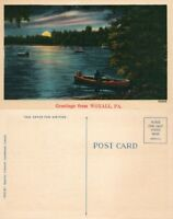 GREETINGS FROM WOXALL PA VINTAGE POSTCARD night scene