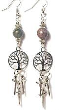 Larga vida del árbol de plata Pendientes de ágata Athame Bruja Pagano Wicca Joyería