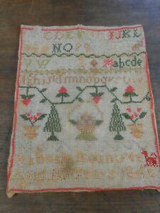 Old Sampler Antique Childs Alphabet Needlework Hannah Rountree 10 Years 1846