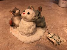 "#51 Charming Tails ""Building A Snowbunny"" 87/692 Mouse & Bunny Snowman"