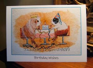 Guinea Pig Sheltie Dutch art birthday card original painting by Suzanne Le Good.