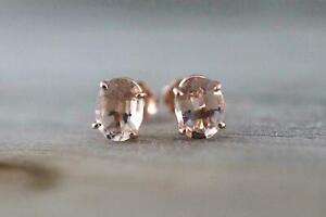 2Ctw Peach Color Morganite 14K Rose Gold Finish Pus-Back Studs Earrings