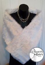 Australian Made White Faux Toy Fur Budget Wrap Shawl Wedding by Lucy's Envy W106