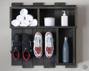 Handmade Peloton Shelf & Cycling Shoe Rack | Rustic Brown