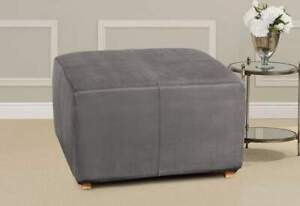 Ultimate Stretch Suede One Piece Ottoman Slipcover slate grey new