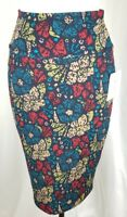 Women's LULAROE Cassie Pencil Skirt Floral Multi Color Size XS