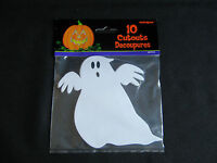 PACK OF 10 HALLOWEEN GHOST CARDBOARD CUTOUTS PARTY DECORATION PROPS