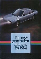 Honda Range Jazz Civic CRX Accord Prelude 1984 original Sales Brochure No A584EH