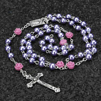 US Catholic Purple Pearl Bead Rosary Necklace Our Rose Lourdes Medal Cross