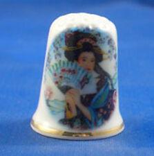 Birchcroft China Thimble -- Oriental -- Japanese Lady and Fan  -- Free Dome Box