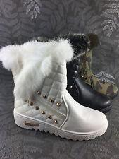 Damen Stiefel warm gefüttert Schnee Boots Winter Stiefeletten Nieten ST608