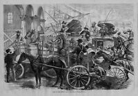 HORSES CARRIAGES WAGONS MERCHANTS TRADING BARRELS WHARF JAM AT THE FERRY GATE