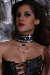 Halsband mit Ring schwarz BDSM SM Erotik Fetisch Bondage Kunstleder Nieten