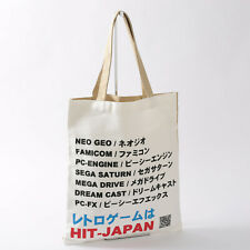HIT-JAPAN Original Cotton Tote Open Shopping Bag with Retro Console Names