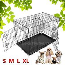 Chien Cage de Chiot Animaux Crate Métal Pliant Transport Avec Plateau 5 Tailles