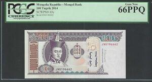 Mongolia 100 Turgrik ND(2014) P65c Uncirculated Graded 66