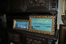 Pair of old Italian Venetian Moonlight   Oil Paintings By VITTORIO