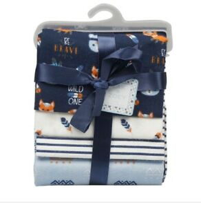 4 Pack Receiving Blankets For Newborns Navy Blue Fox Cotton (Zack And Zoey)