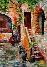 Italy Courtyard Old Steps Flowers Limited Edition ACEO Print Art Yary Dluhos .