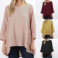 ZANZEA Women Long Sleeve Shirt Tops Asymmetrical Hem Shirt Tops Batwing Blouse