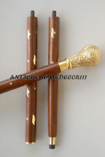 Nautical antique Brass Handle cane walking vintage with Three Folding stick Gift