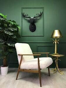 Vintage Design Art Deco White Sheepskin Fluffy Fury  Chair Armchair