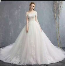 UK Ivory Off Shoulder Pearls Lace 1M Train A Line Wedding Dresses Size 6-20