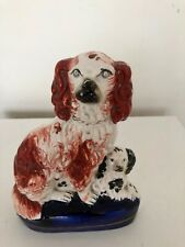 More details for vintage hand painted ceramic spaniel dog & puppy figurine staffordshire england