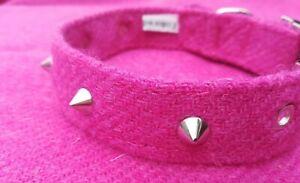 Harris Tweed  Pink spiked dog collar Punk Westwood