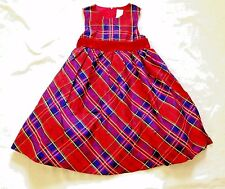 NWT Gymboree Holiday Celebrations Red Cotton Silk Plaid Dress Girls 5 Sleeveless
