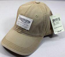 NWT Lucky Brand Triumph Motorcycle Rectangle Patch Khaki Baseball Hat Cap Adjust