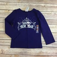NWT girls GYMBOREE sz 2T Happy New Year Navy Tee Shirt Top MOD ABOUT ORANGE