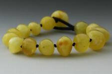 Baroque Shape Beads Genuine Baltic Amber MEN'S Knotted Bracelet 19.1g 180517-4