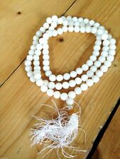 Milky Snow Quartz Mala Prayer Beads 108, crystal, Buddhist, meditation, Hinduism