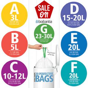Brabantia Bin Liners / Rubbish Bags 3L 5L 12L 20L 30L 50L & 60L Size A B C D E F