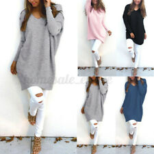 US STOCK Women Casual Long Sleeve Loose Solid Sweater Shirt Tops Jumper Pullover